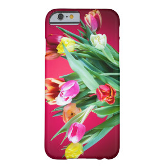 Bouquet of tulips on red barely there iPhone 6 case
