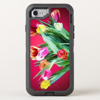 Bouquet of tulips on red OtterBox defender iPhone 7 case