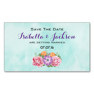 Bouquet of Watercolor Flower Wedding Save The Date Magnetic Business Cards