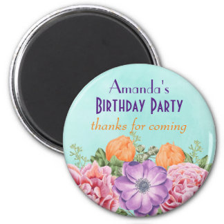 Bouquet of Watercolor Flowers Birthday Thank You 6 Cm Round Magnet