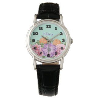 Bouquet of Watercolor Flowers Custom Name Watch
