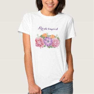 Bouquet of Watercolor Flowers Wedding Bridesmaid Tshirt