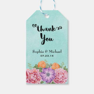 Bouquet of Watercolor Flowers Wedding Thank You