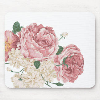 Bouquet of White and Pink Roses Mousepads