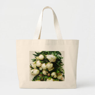 Bouquet of White Peony Buds Totebag / Bookbag Large Tote Bag