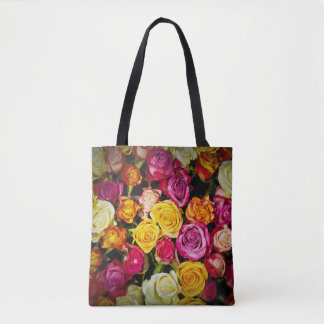 Bouquet Of White Pink Yellow Roses Flowers Tote Bag