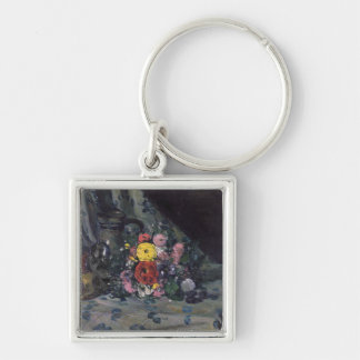 Bouquet of Yellow Dahlias, c.1873 Silver-Colored Square Key Ring