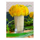 Bouquet of yellow dandelions postcard