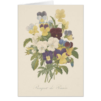 Bouquet Pansy Pansies Flower Illustration Card
