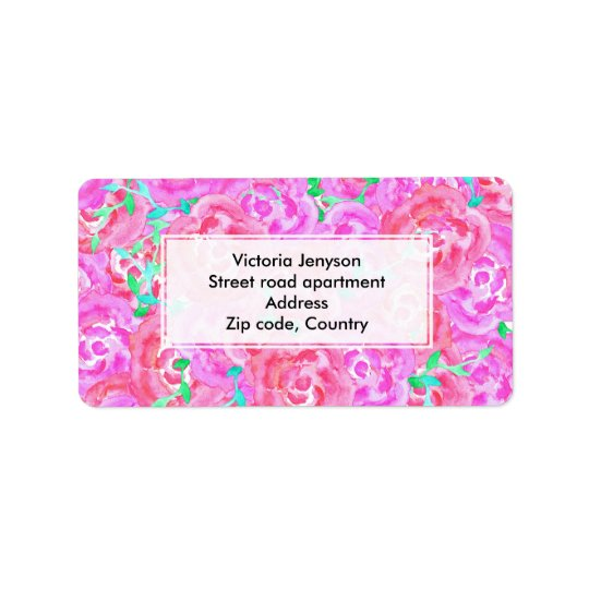 Bouquet pink watercolor roses floral pattern address label