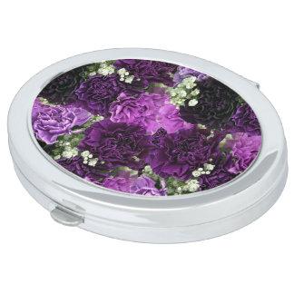 Bouquet Purple Carnations Mirror For Makeup
