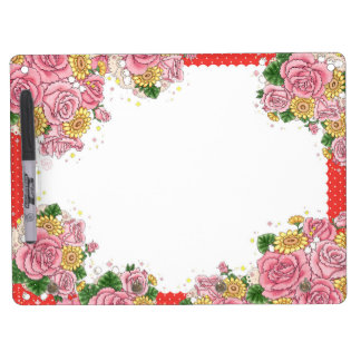 Bouquet (red) dry erase board with key ring holder