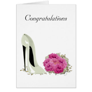 Bouquet Roses and Wedding Stiletto Gifts Card