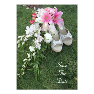 bouquet shoes Save The Date invite