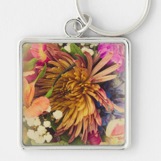 Bouquet (Warm Colors) Silver-Colored Square Key Ring