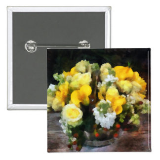 Bouquet With Roses and Calla Lilies Pinback Button