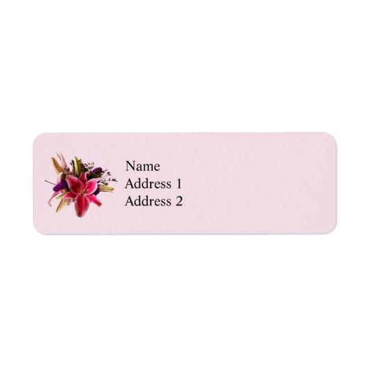 Bouquet With Stargazer Lilies Return Address Label