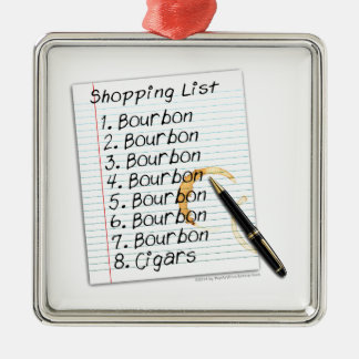 BOURBON SHOPPING LIST COCKTAIL HUMOR CHRISTMAS ORNAMENT