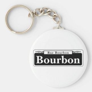 Bourbon St., New Orleans Street Sign Basic Round Button Key Ring