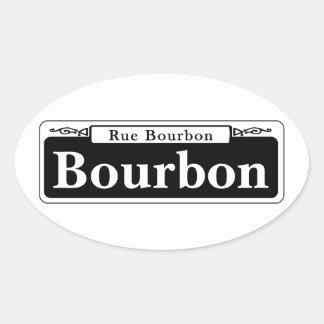 Bourbon St., New Orleans Street Sign Oval Sticker
