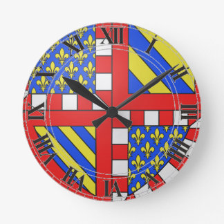 Bourgogne (France) Coat of Arms Round Clock