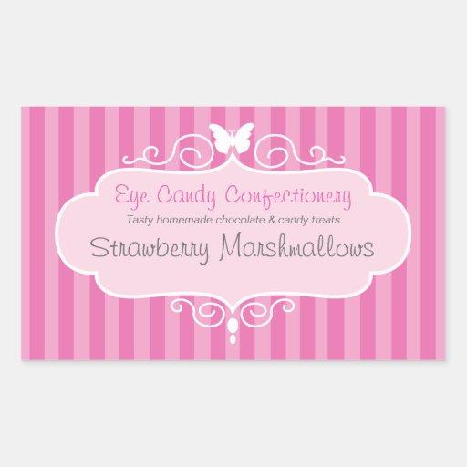 Boutique candy shop pink  food label sticker