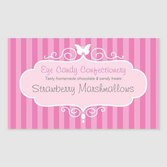 Boutique candy shop pink food label sticker