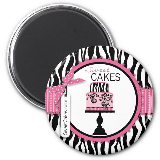 Boutique Chic Cake Bakery 6 Cm Round Magnet