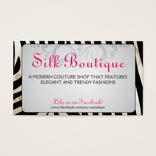 Boutique-Classy Zebra Flourish Business Cards