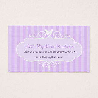 Boutique shop lilac purple clothing swing hang tag business card