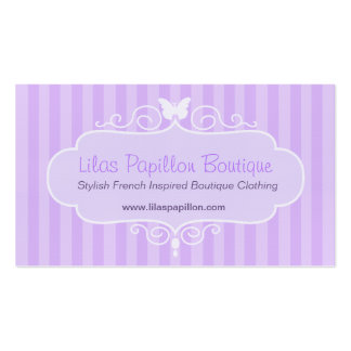 Boutique shop lilac purple clothing swing hang tag pack of standard business cards