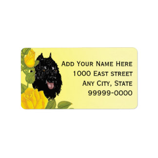 Bouvier des Flandres and Yellow Roses Address Label