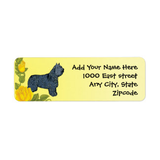 Bouvier des Flandres and Yellow Roses Return Address Label
