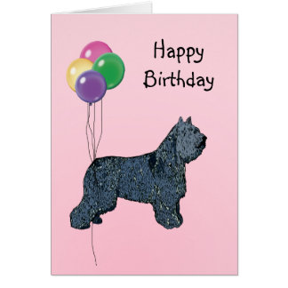 Bouvier des Flandres, Birthday Balloons Card