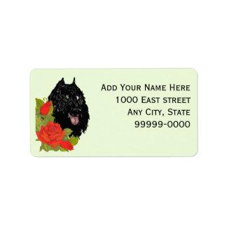 Bouvier des Flandres on Red Roses Address Label