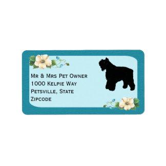 Bouvier des Flandres on Turquoise Floral Address Label