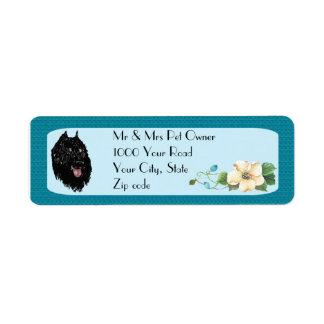 Bouvier des Flandres on Turquoise Floral Return Address Label