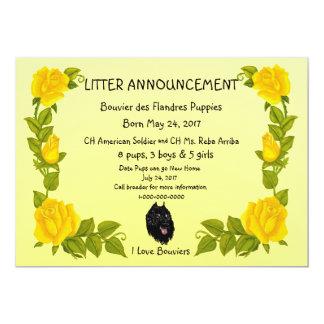 Bouvier des Flandres on Yellow Roses 13 Cm X 18 Cm Invitation Card
