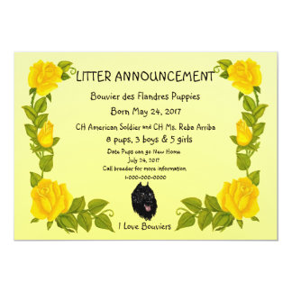 Bouvier des Flandres on Yellow Roses Card