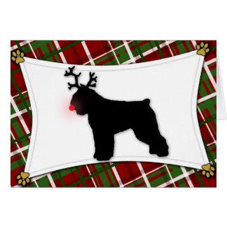 Bouvier des Flandres Reindeer Christmas Card
