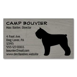 Bouvier des Flandres Silhouette Wood Grain Magnetic Business Card