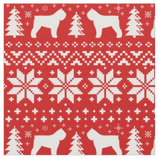 Bouvier des Flandres Silhouettes Christmas Pattern Fabric