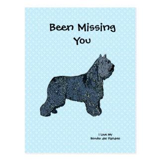 Bouvier on Blue Polka Dot - Missing You Postcard