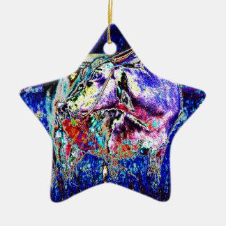 Bovine in blue ceramic star decoration