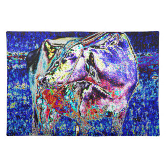Bovine in blue placemat
