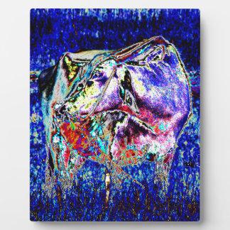 Bovine in blue plaque