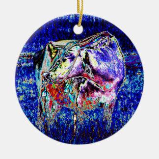 Bovine in blue round ceramic decoration