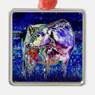 Bovine in blue Silver-Colored square decoration