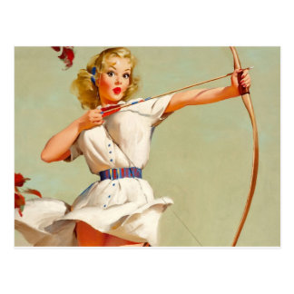 Bow and Arrow Pin-Up Postcard