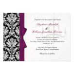 Bow and Chandelier Damask Wedding Invitation